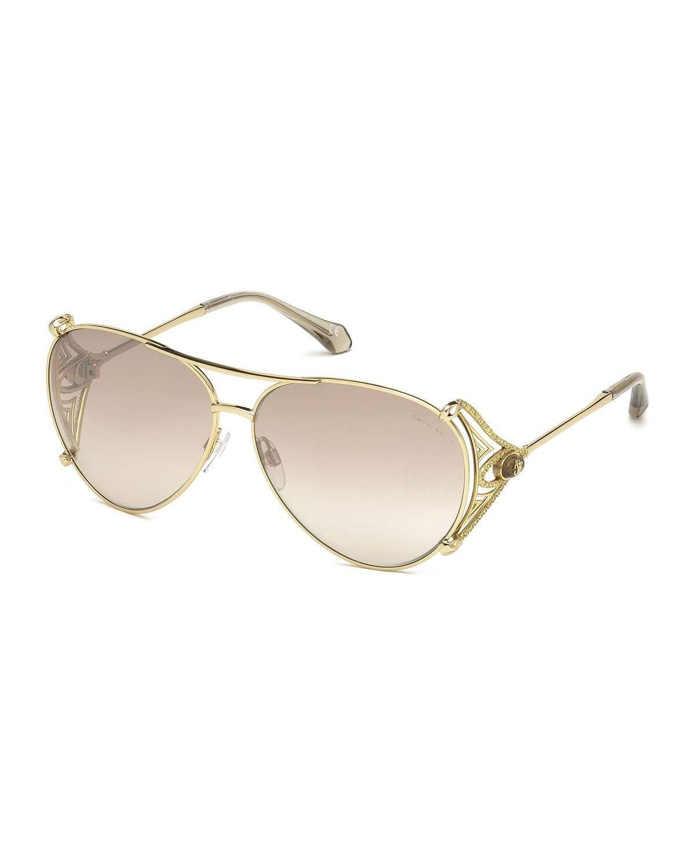 647bbba88769 Roberto Cavalli Metal Aviator Sunglasses   Products   Gold aviator ...