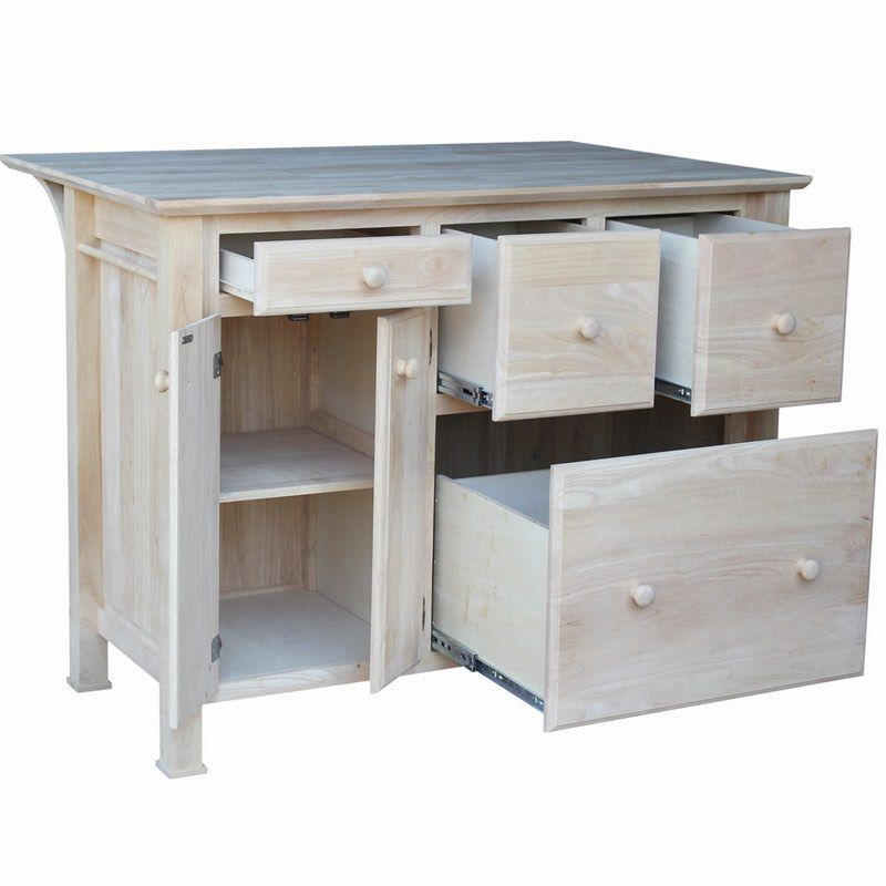The real wood kitchen island breakfast bar is unfinished ...
