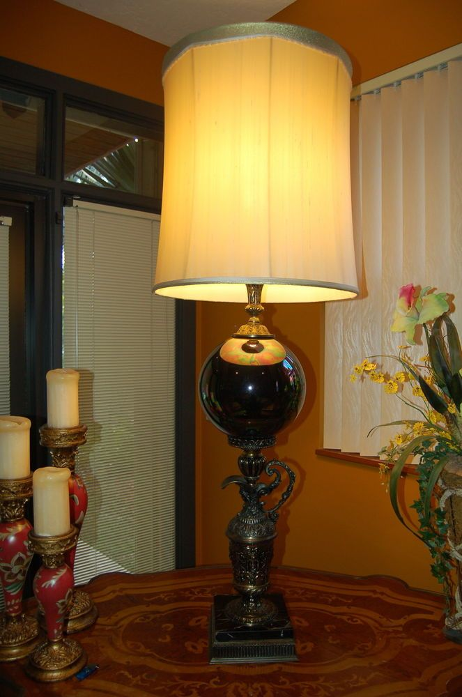 Antique Brass Faces Urn Opulent Glass Globe Table Lamp Marble Base 54 Tall Vintage Lamps Table Lamp Lamp