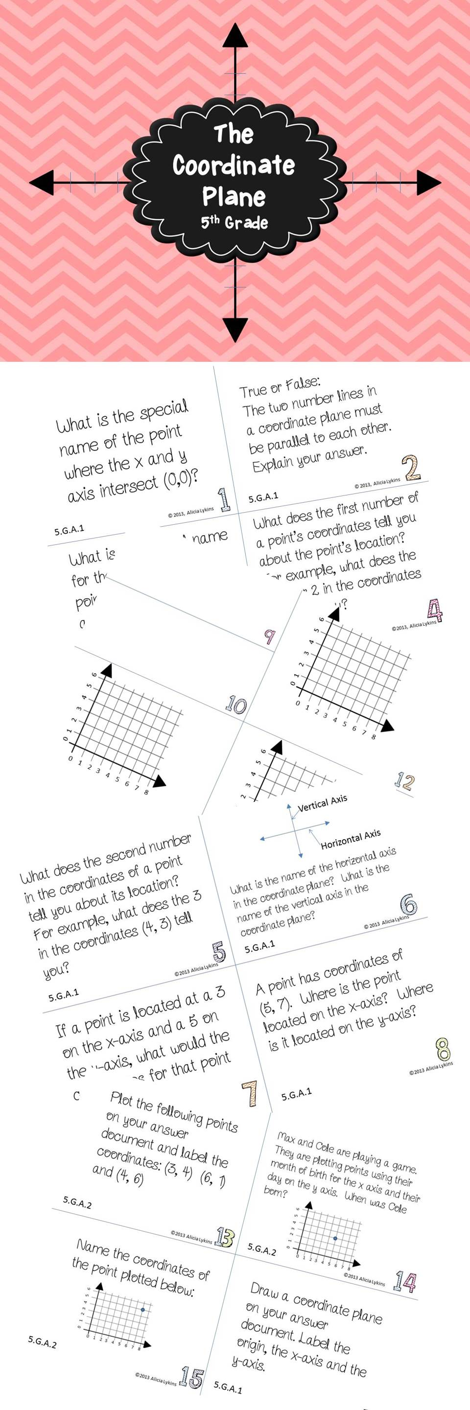 Let 39 S Learn About Coordinate Planes This Set Of 24 Task