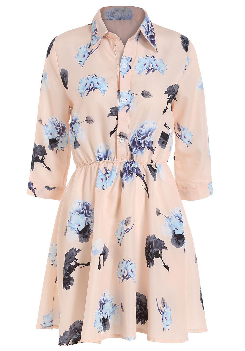 Romwe Lapel Flower Print Shirt Dress Dresses Dresses Shirt