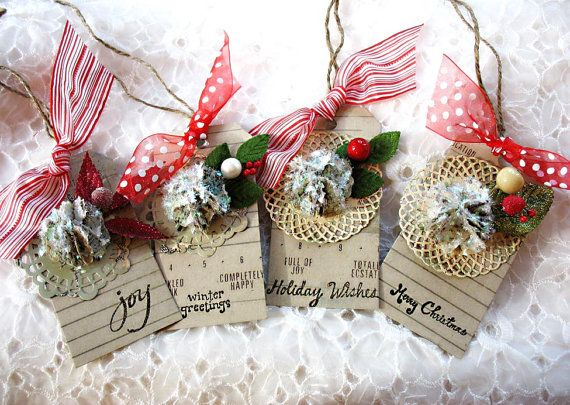 Glittering Fanciful Snowball Vintage Style Christmas Holiday Luxe Gift Tags-paper flower-holly berry-candy cane-red-polka dot-kraft brown