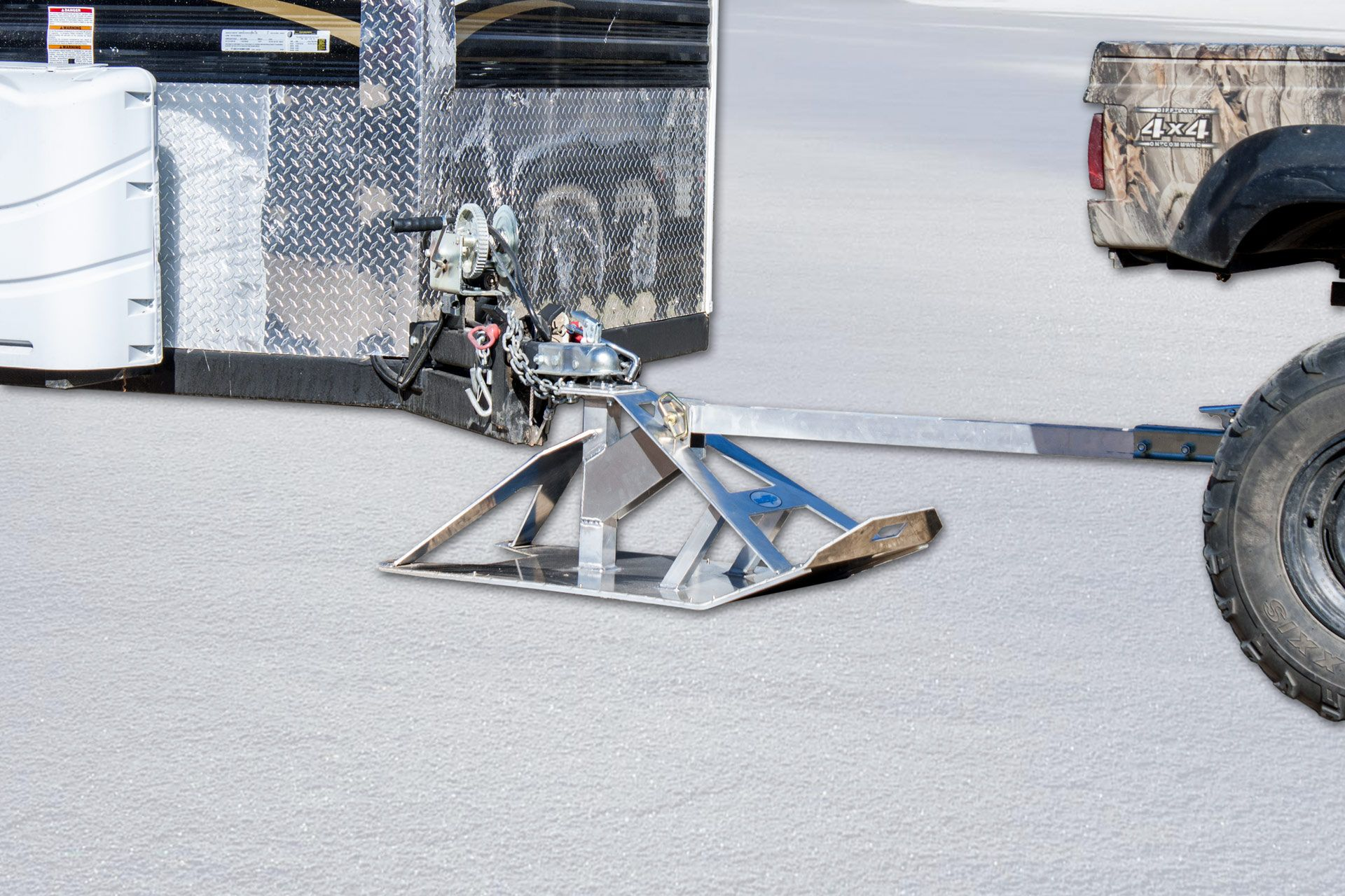 Snow Tow Model 2267 Hooked Up To An Ice Castle Fish House And Side By Side Atv Heavy Duty Aluminum Construc Ice Castle Fish House Fish House Ice Fishing Shack