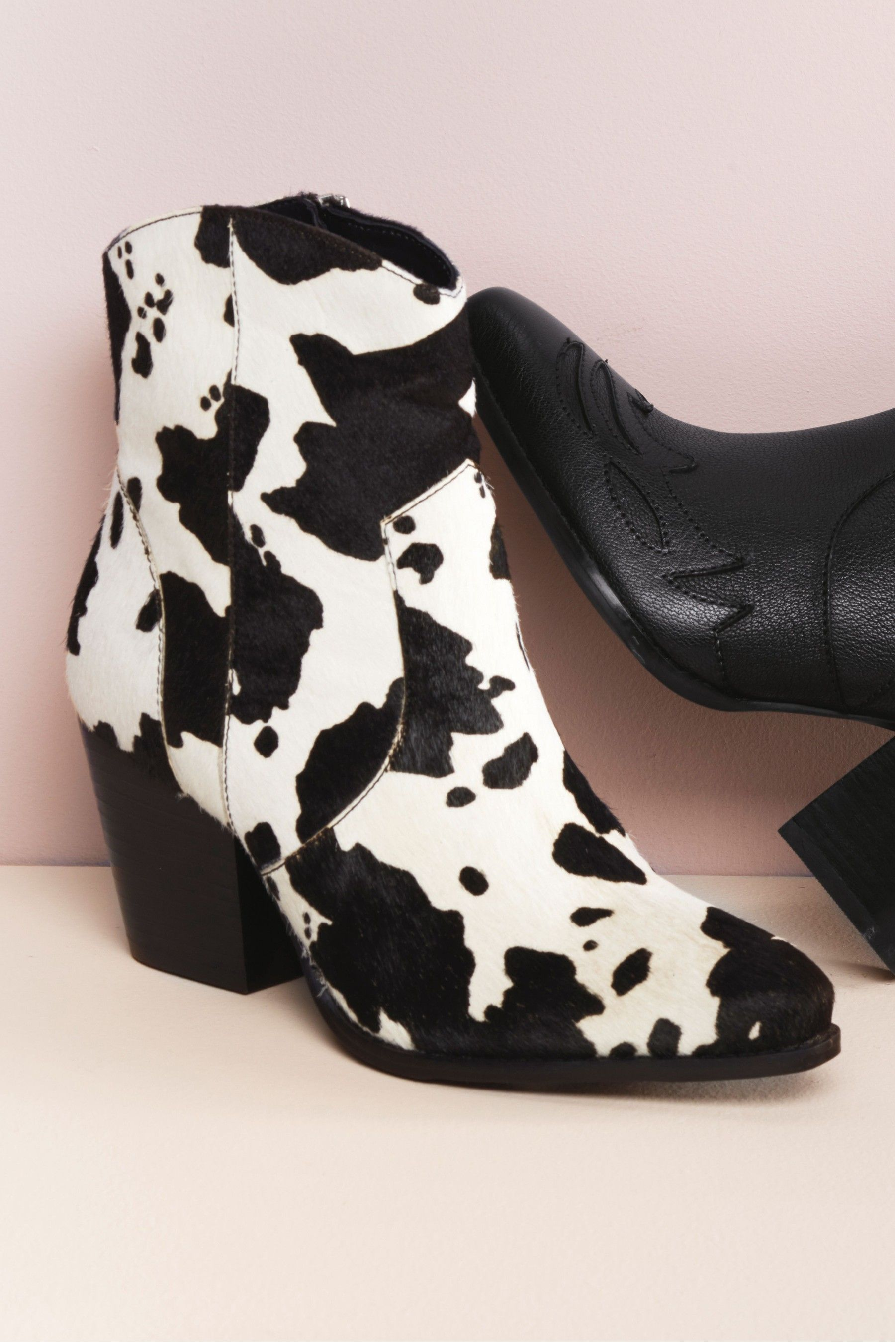Cow Print Western Ankle Boots - Animal