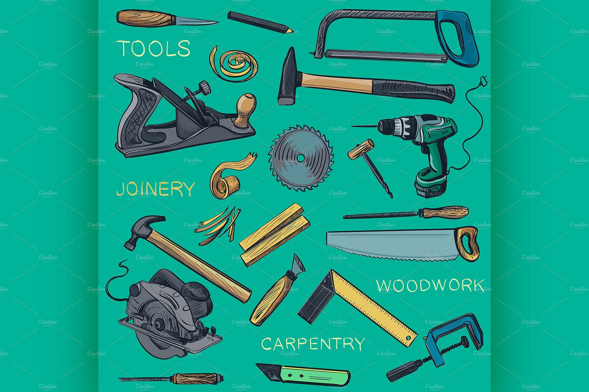 Collection Of Hand Drawn Carpentry Carpentry How To Draw Hands Woodworking