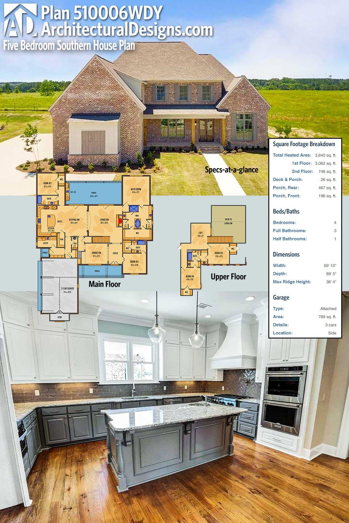 Plan wdy five bedroom southern house plan southern house