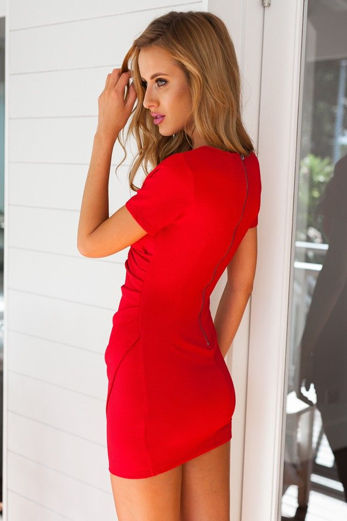 Red Short Sleeve Sexy Bodycon Dress   Casual Dresses 172f0055b