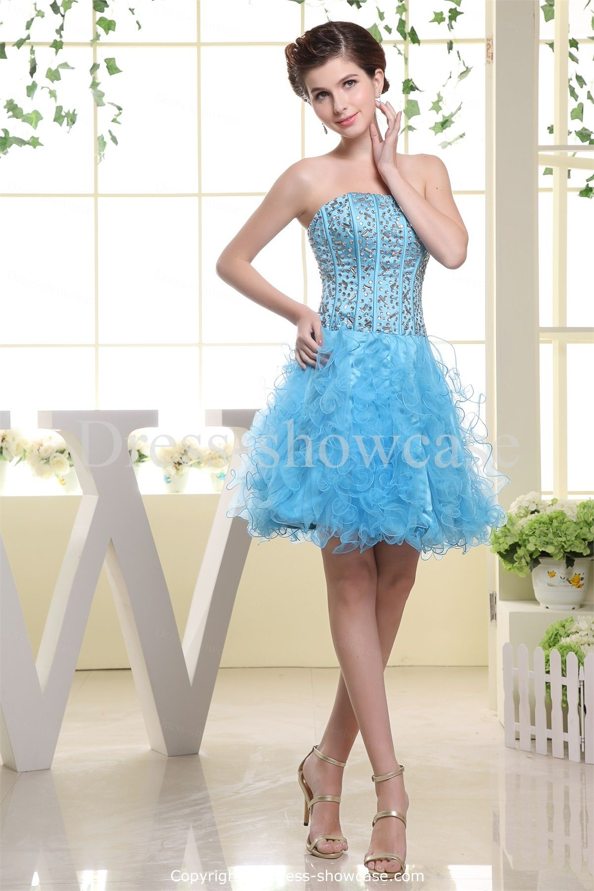 Blue Short Satin Strapless Sweet 16 Dress Wholesale Price: US ...