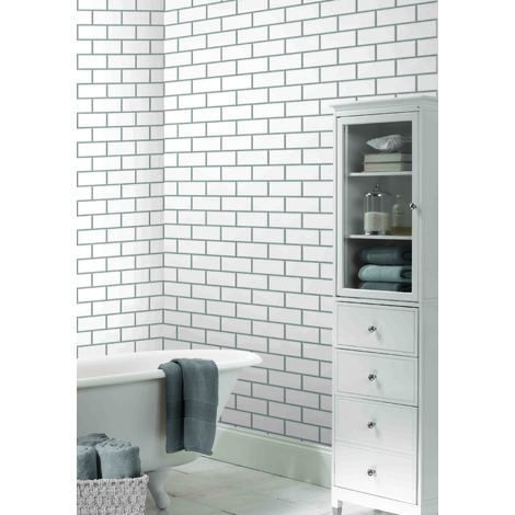 New York Subway Tile Effect Wallpaper Has A Textured 3d Feel And An Attractive Brick Tiles Bathroom White Bathroom With Wallpaper Wallpaper For Small Bathrooms