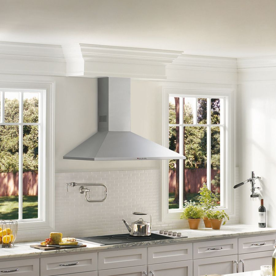 Shop Frigidaire Convertible Wall Mounted Range Hood Stainless Steel Common 36 In Actual 35 38 In At Lowes Com Steel Wall Range Hood Stainless Range Hood