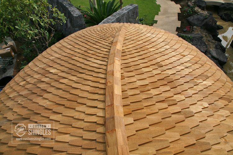 Curved Teak Shingle Roof Roof Shingles Shingling Best Roof Shingles