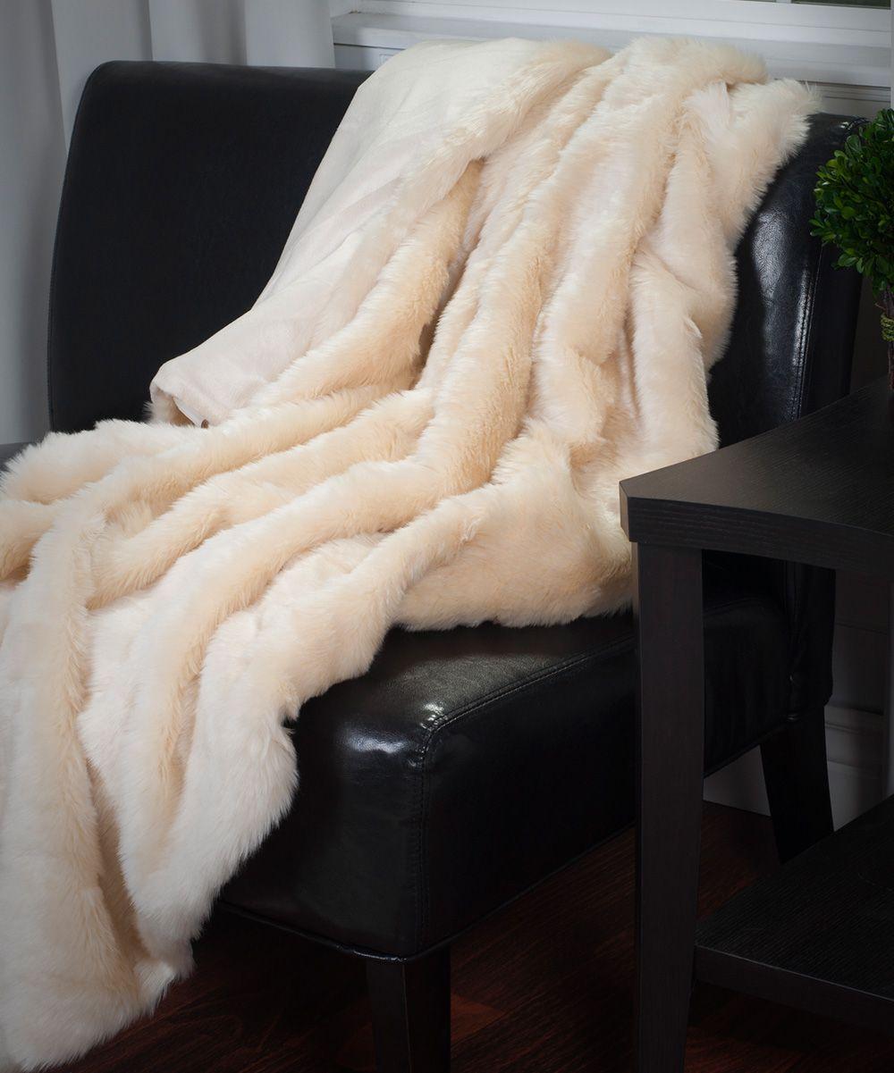 4b644004f9 Beige Lavish Home Luxury Long-Hair Faux Fur Throw