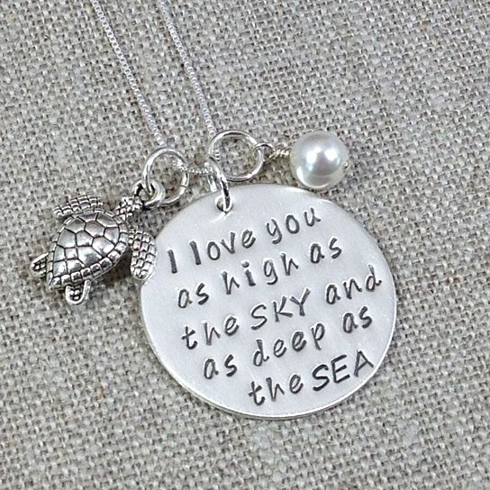 """""""I Love You As High As The Sky And As Deep As The Sea""""  What your order includes:Sterling Silver  1 inch - Hand Stamped Round Disc  1 Sterling Silver Turtle Charm  6mm white swarovski pearl  Please note, the picture above is a representation of the necklace you are purchasing. Each letter is personally hand stamped by me; therefore, no two items are alike. Text and design may not be perfectly straight which gives you the unique detail of your charm. This should not be considered ..."""