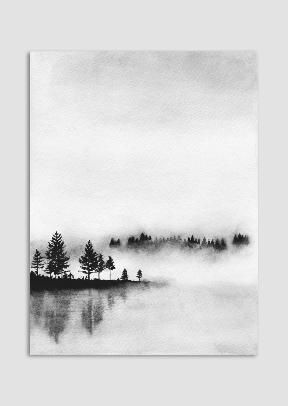 Reflections – Monochrome Watercolour Print