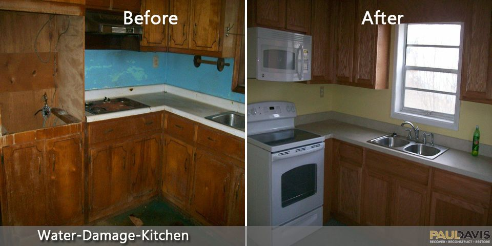 Water Damage In Kitchen Before After Waterdamage Kitchen Kitchen Kitchen Cabinets Home Decor