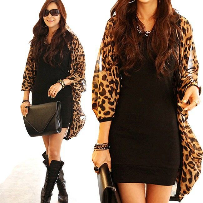Hot Sexy Women Leopard Chiffon Cardigan Coat Vogue Long Chiffon ...