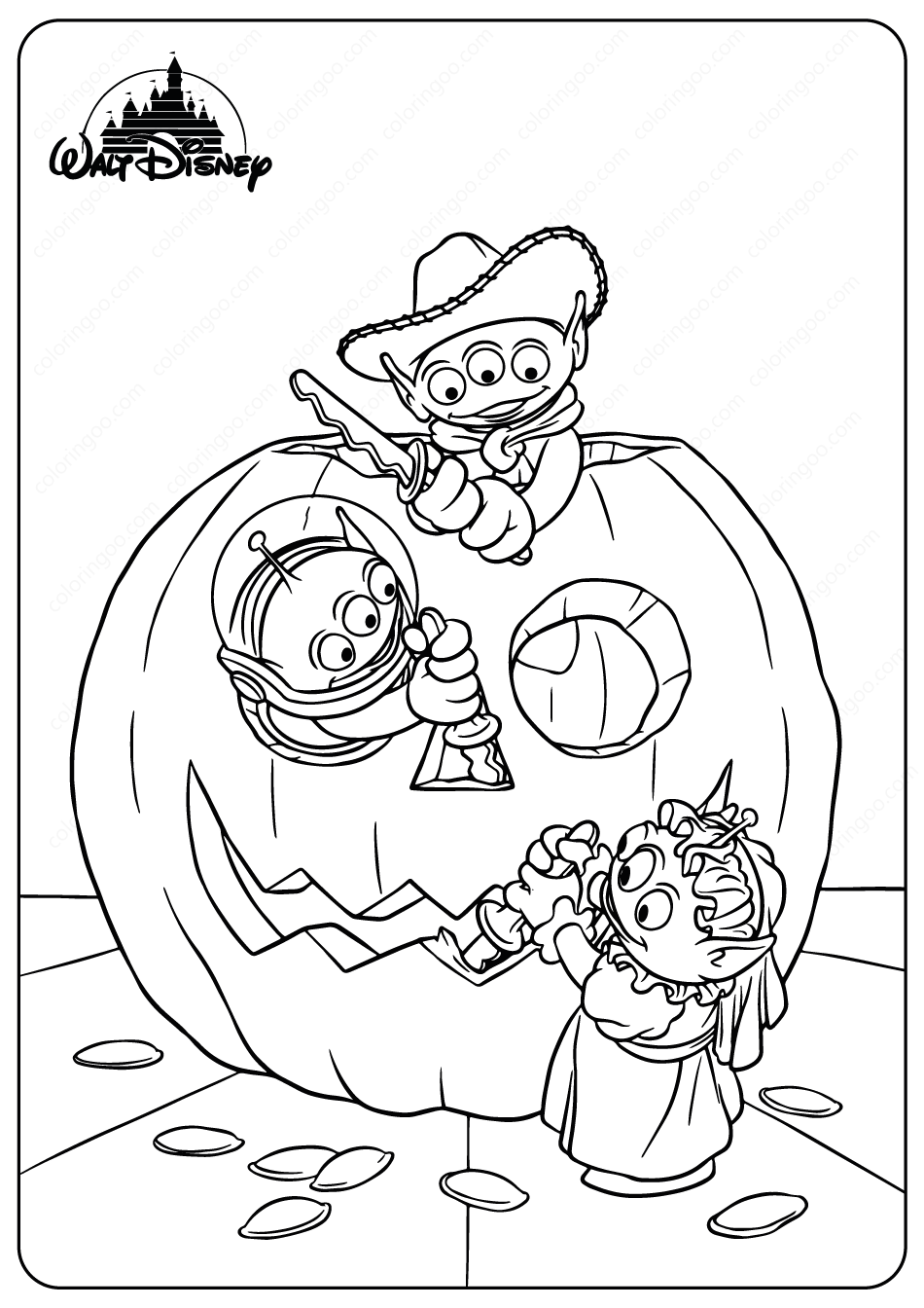Aliens Halloween Coloring Pages disney aliens toystory