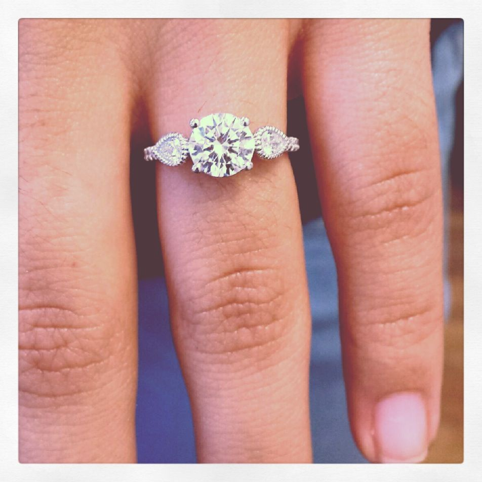 14K WHITE GOLD FANCIFUL FLUTED PEAR PAVE ENGAGEMENT RING | The ...