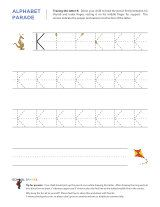 Uppercase K letter tracing worksheet, with easy-to-follow arrows showing the proper formation of the letter.