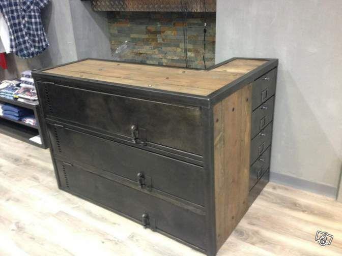 Comptoir de caisse bar meuble m tier magasin ldt ameublement paris usine style - Meuble de caisse pour boutique ...