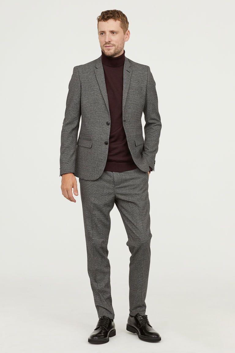 Skinny Fit Suit Pants Black Melange Men H M Us Mens Outfits Sweater Outfits Men Mens Casual Outfits [ 1152 x 768 Pixel ]