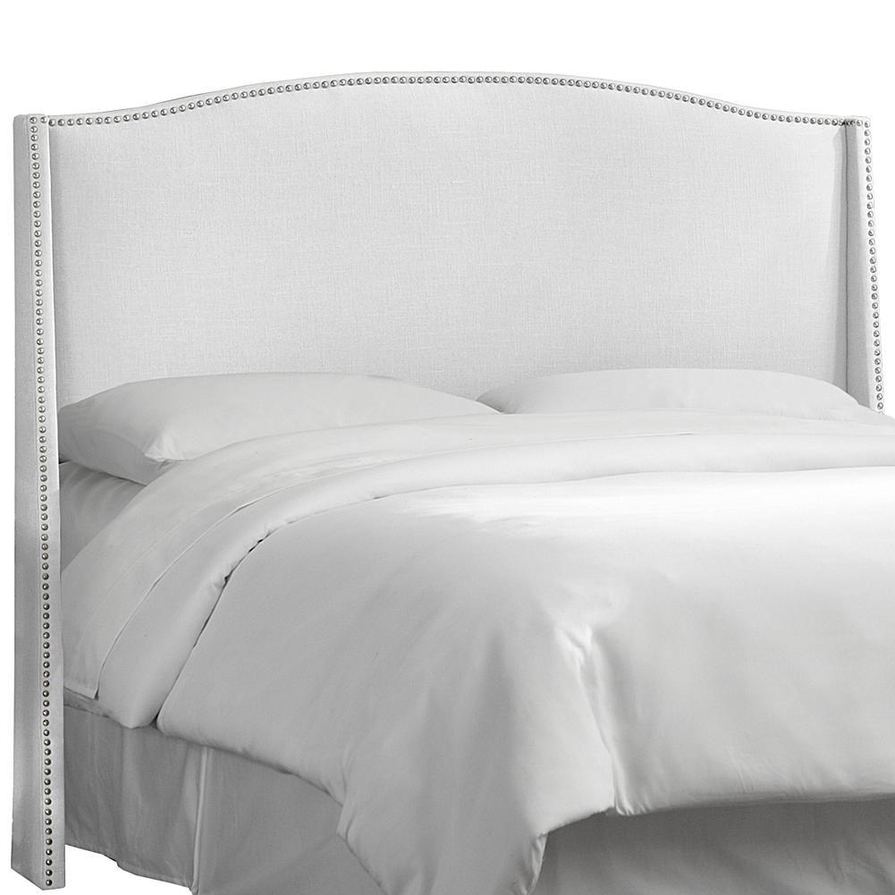 skyline furniture twill nail button wingback queen size headboard white chevet en pleine taille