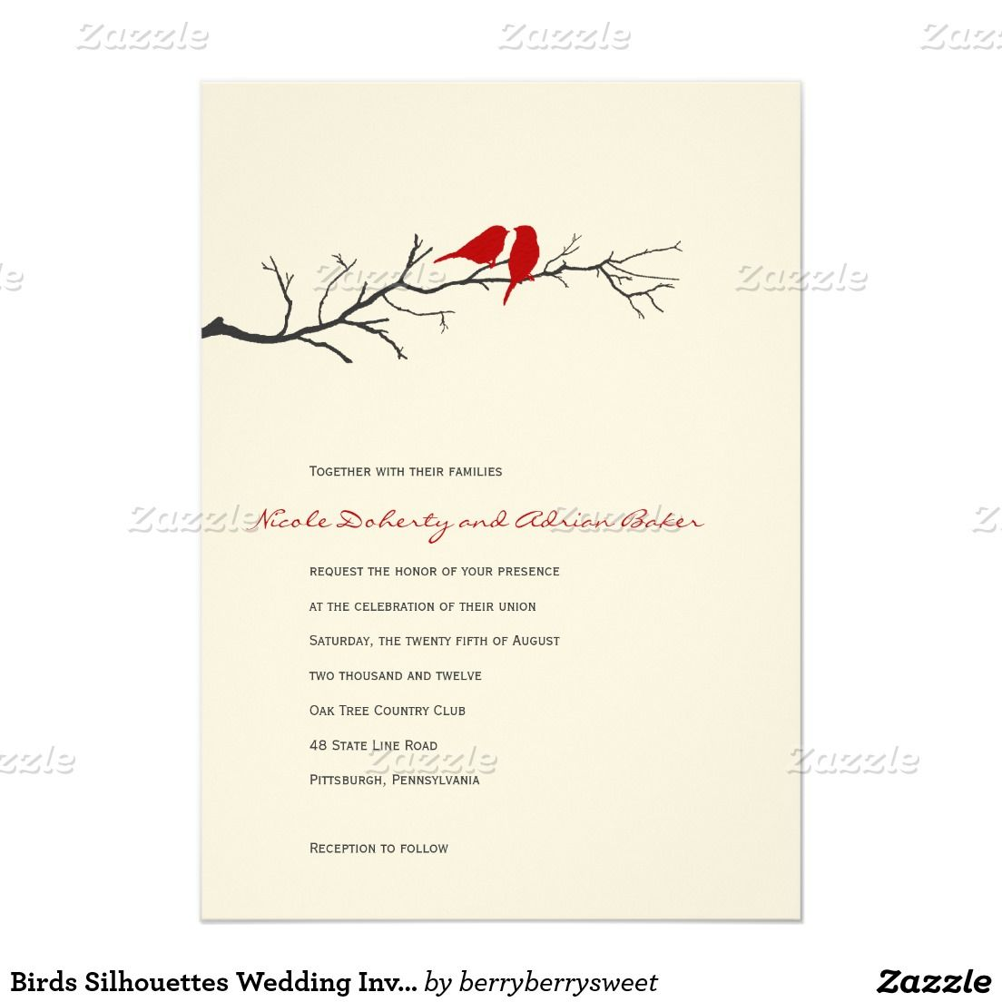 "Birds Silhouettes Wedding Invitation - Red - 5"" X 7"" Invitation Card"