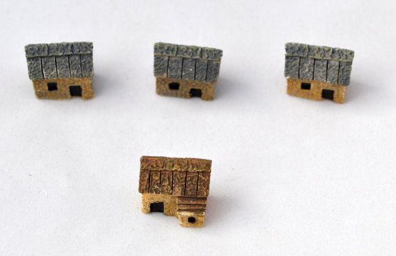 4 PC Brown Houses Cottage Tiny Miniature by AZRibbonsAndSupplies