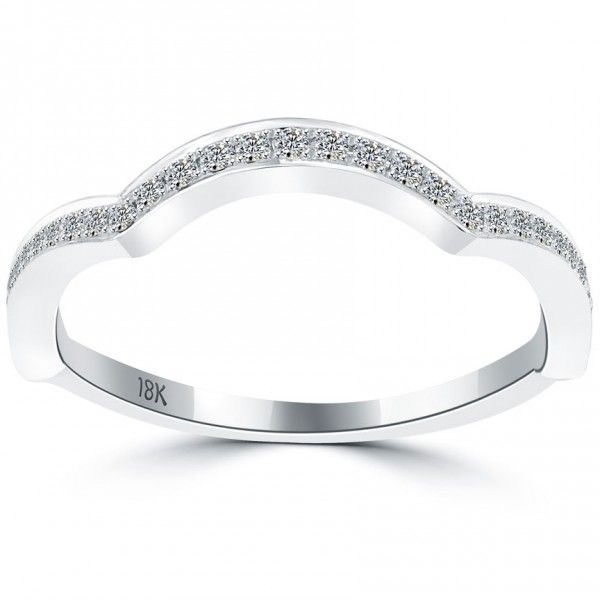 026 Carat Custom Curve Matching Diamond Wedding Band Ring 18k White