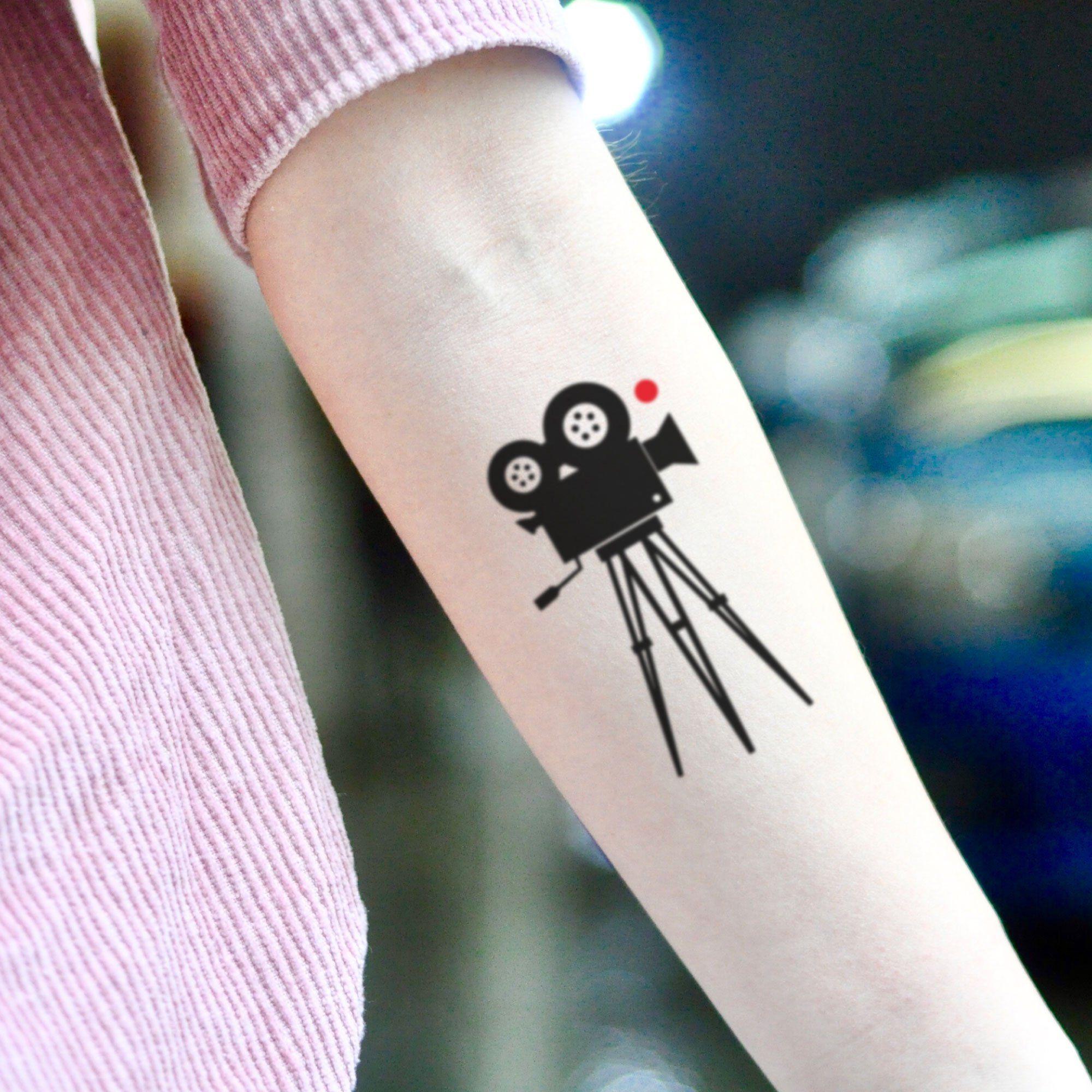 Film camera old cinema movie temporary tattoo sticker set