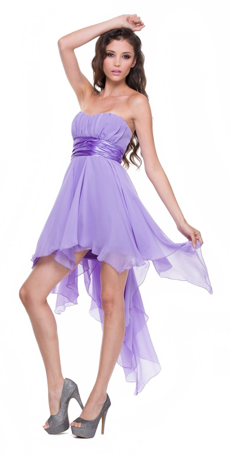 High Low Chiffon Lilac Bridesmaid Dress Strapless Layered Skirt ...