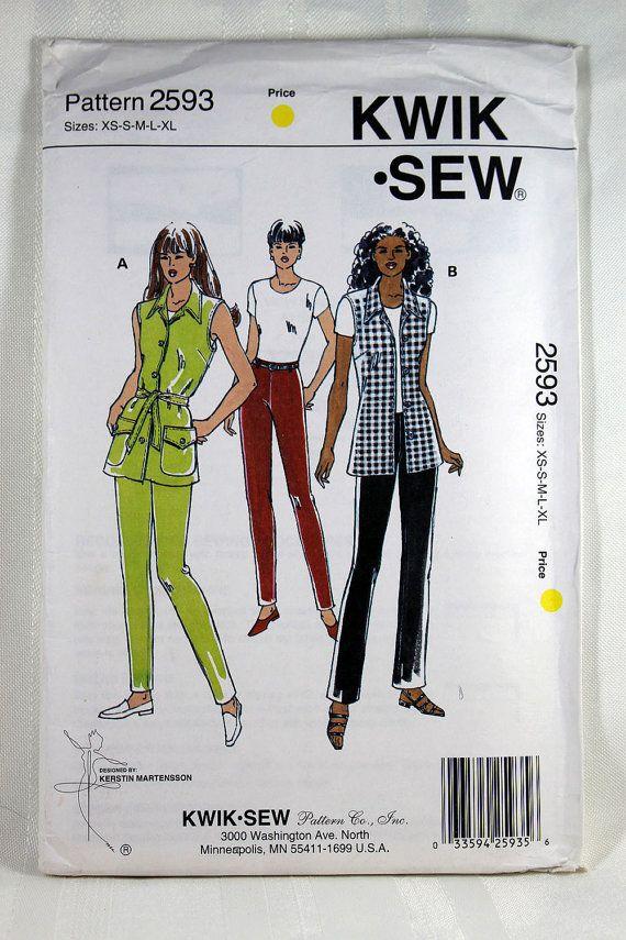 Kwik Sew 2593, Misses\' Pants and Vest Sewing Pattern, Misses ...