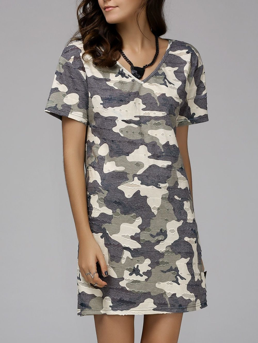 Fashionable Short Sleeve V-Neck Camo Print Women's Mini Dress
