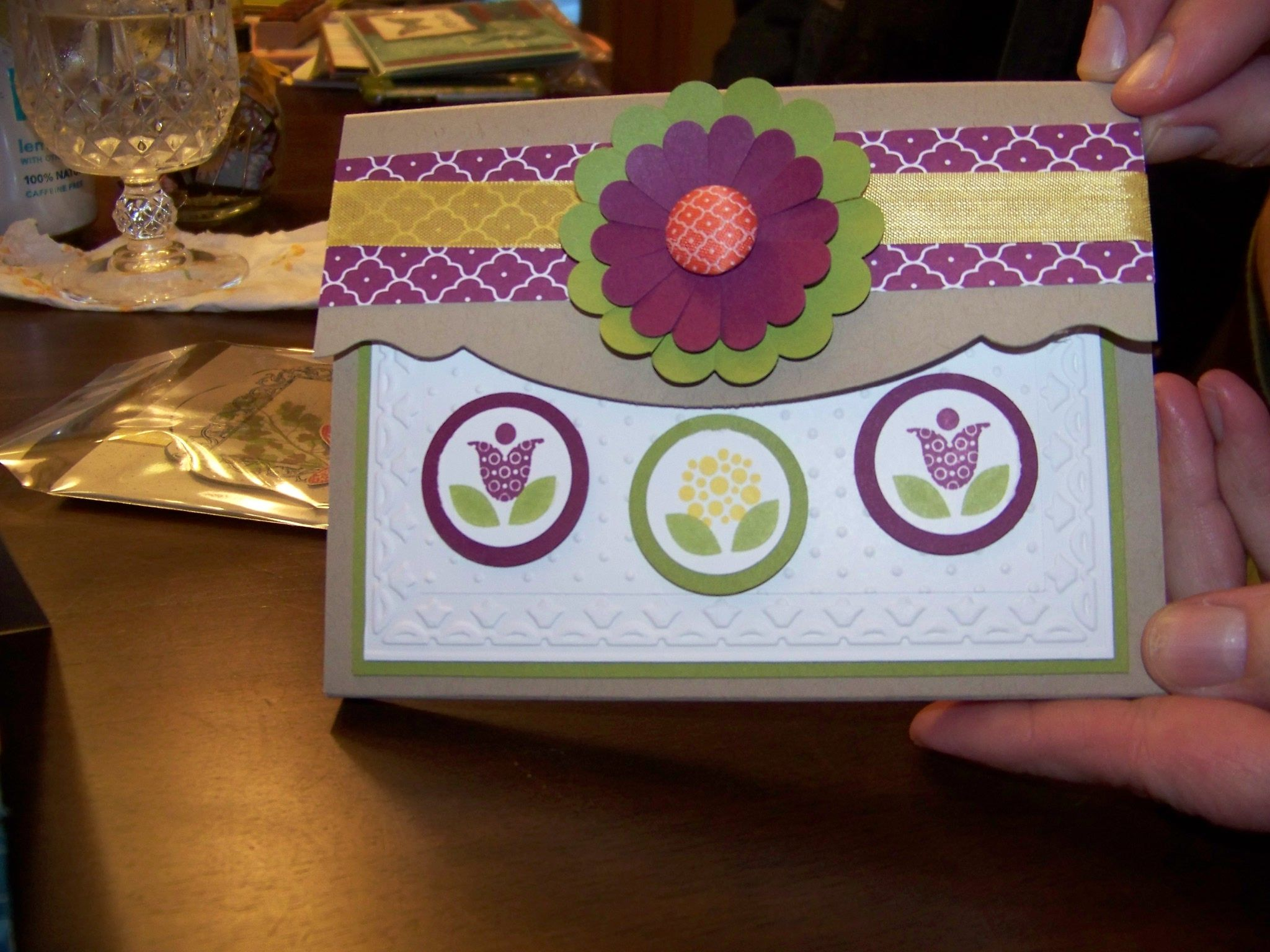 julie's home made card box holder from stampin up meeting