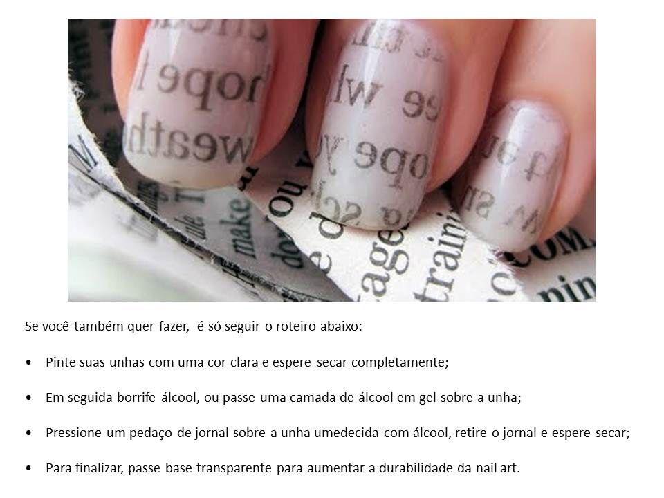 """Nail art """"newspaper"""" - como fazer"""