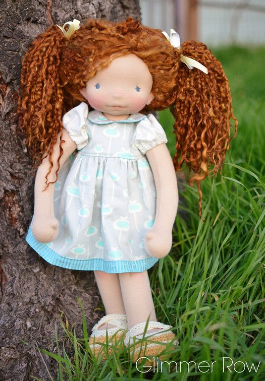 """Amelia"", 19"" natural, waldorf inspired, cloth doll by Glimmer Row"