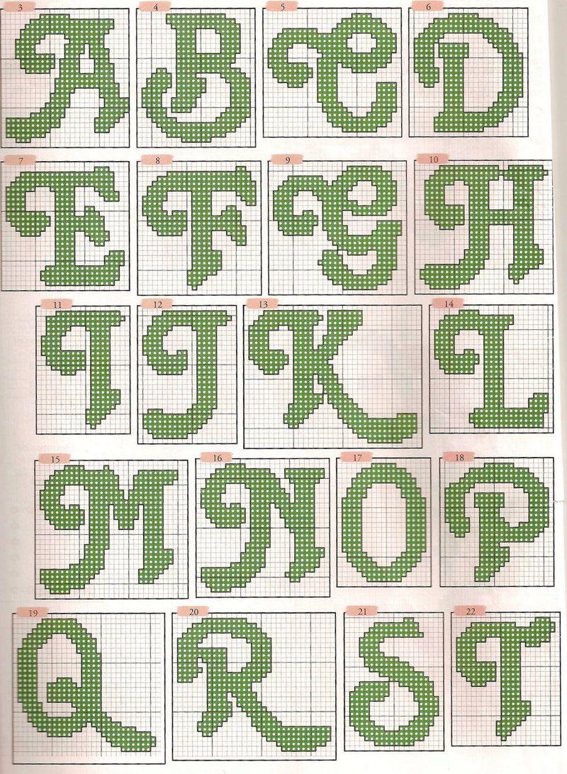 Alphabet et chiffres   십자수 알파벳, 십자수 및 자수 알파벳