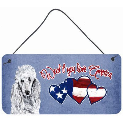 Caroline's Treasures Woof if you love America White Standard Poodle by Sylvia Corban Painting Print Plaque
