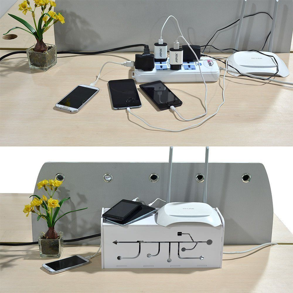 Ecom Cable Management Box Cord Organizer For PC Wall Power ...