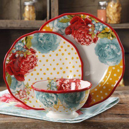 The Pioneer Woman Blossom Jubilee Dinnerware Set In Home U0026 Garden, Kitchen,  Dining U0026 Bar, Dinnerware U0026 Serving Dishes, Dinner Service Sets
