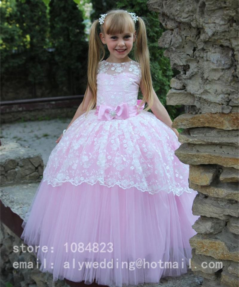 2017 Sweet Lace Bow Ball Gown Flower Girl Dresses Tulle Floor-Length ...