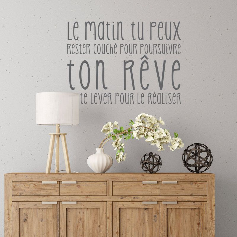 Sticker citation r alise ton r ve citations positives for Autocollant mural texte