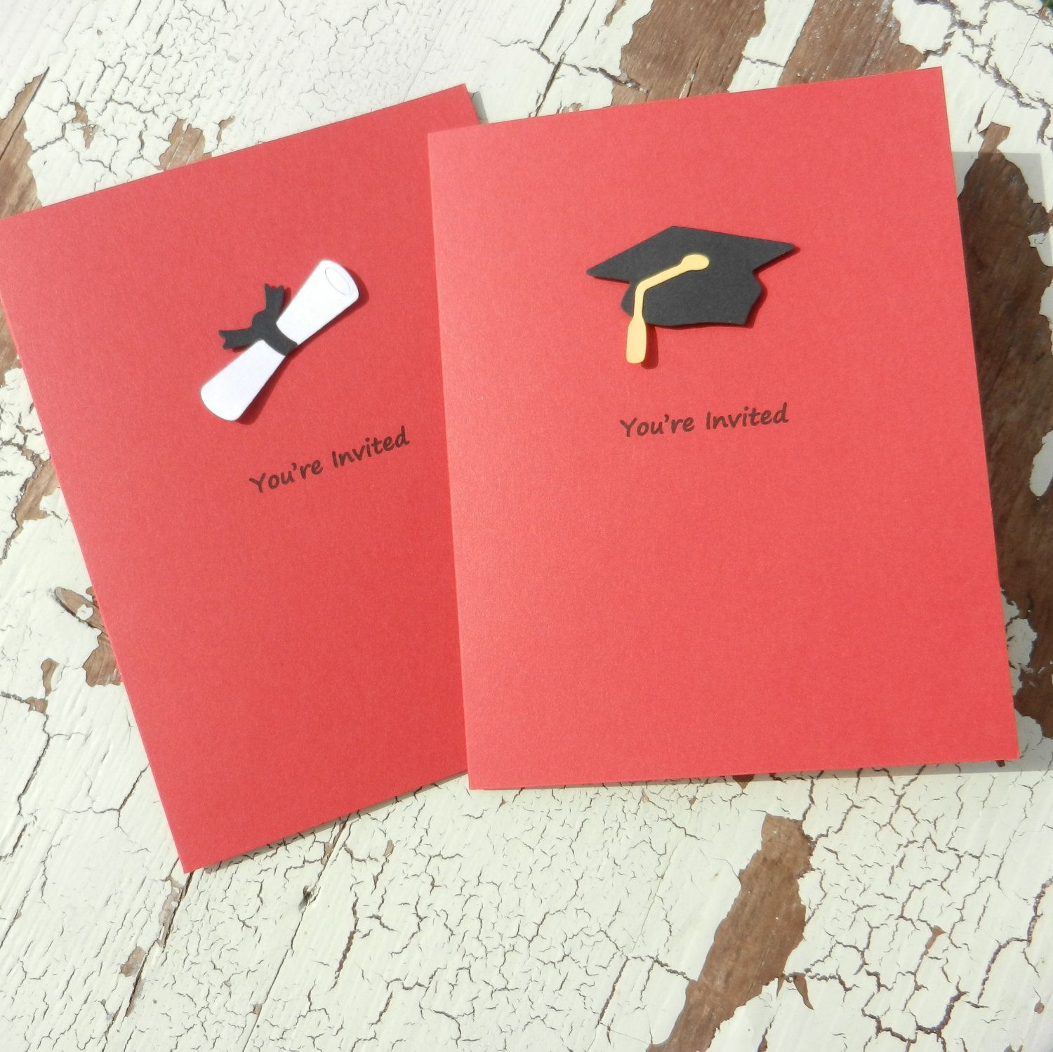 Handmade Graduation Invitations 10 Pack Red 1400 via Etsy
