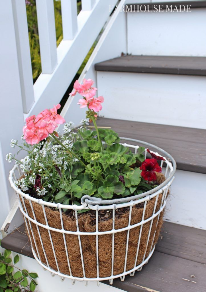 Farmhouse Porch Egg Basket Planters Springtime