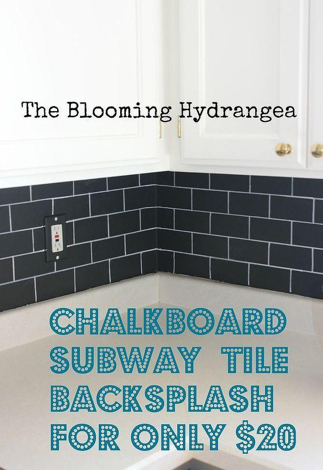 Chalkboard Subway Tile Backsplash For Less Than 20, Chalkboard Paint,  Kitchen Backsplash, Kitchen