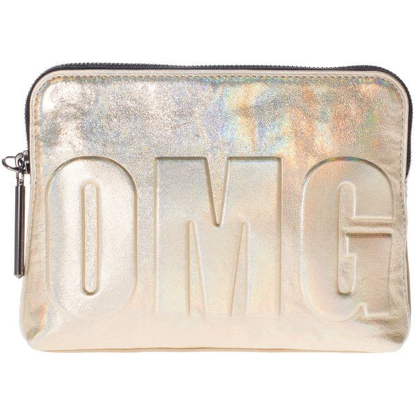3.1 Phillip Lim OMG 31 Second Silver Metallic leather clutch with... (€139) ❤ liked on Polyvore featuring bags, handbags, clutches, purses, metallic leather handbags, embossed leather handbags, metallic handbags, pink handbags and pink purse