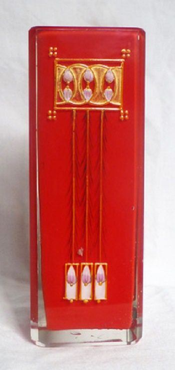 Josef Riedel, Polaun Red Square Secessionist Vase
