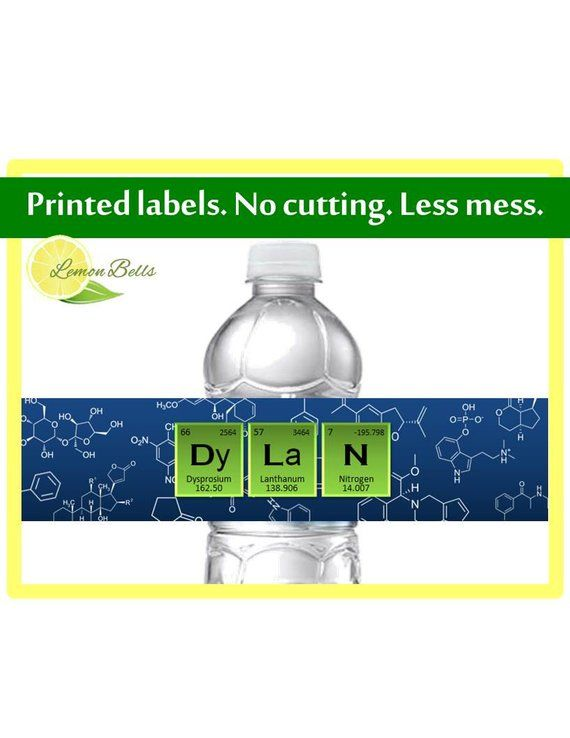 Printed Science Water Bottle Labels - Science Birthday Decoration