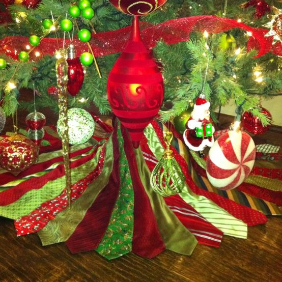 Christmas Tree Skirt Made Out Of Neckties Christmas Christmas Crafts Christmas Decorations