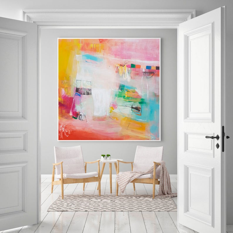 Bright Wall Art Extra Large Abstract Print Vibrant And Etsy Colorful Wall Art Large Abstract Living Room Art